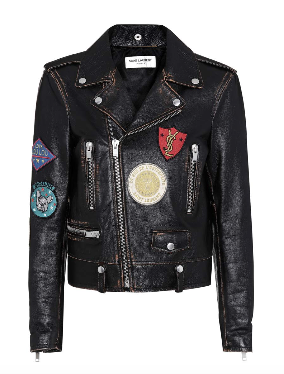 SAINT LAURENT Appliquéd leather biker jacket