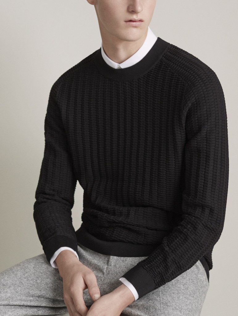 Cos with clean shapes through the winter what we adore for Black sweater white shirt
