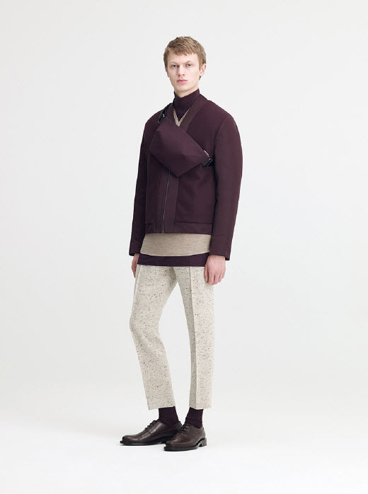 599d56acfd57 Technical Wool V-Neck Bomber in Burgundy Boiled Wool Jersey Front-Pleat Top  in Oatmeal Melange Poplin High-Neck Top in Burgundy