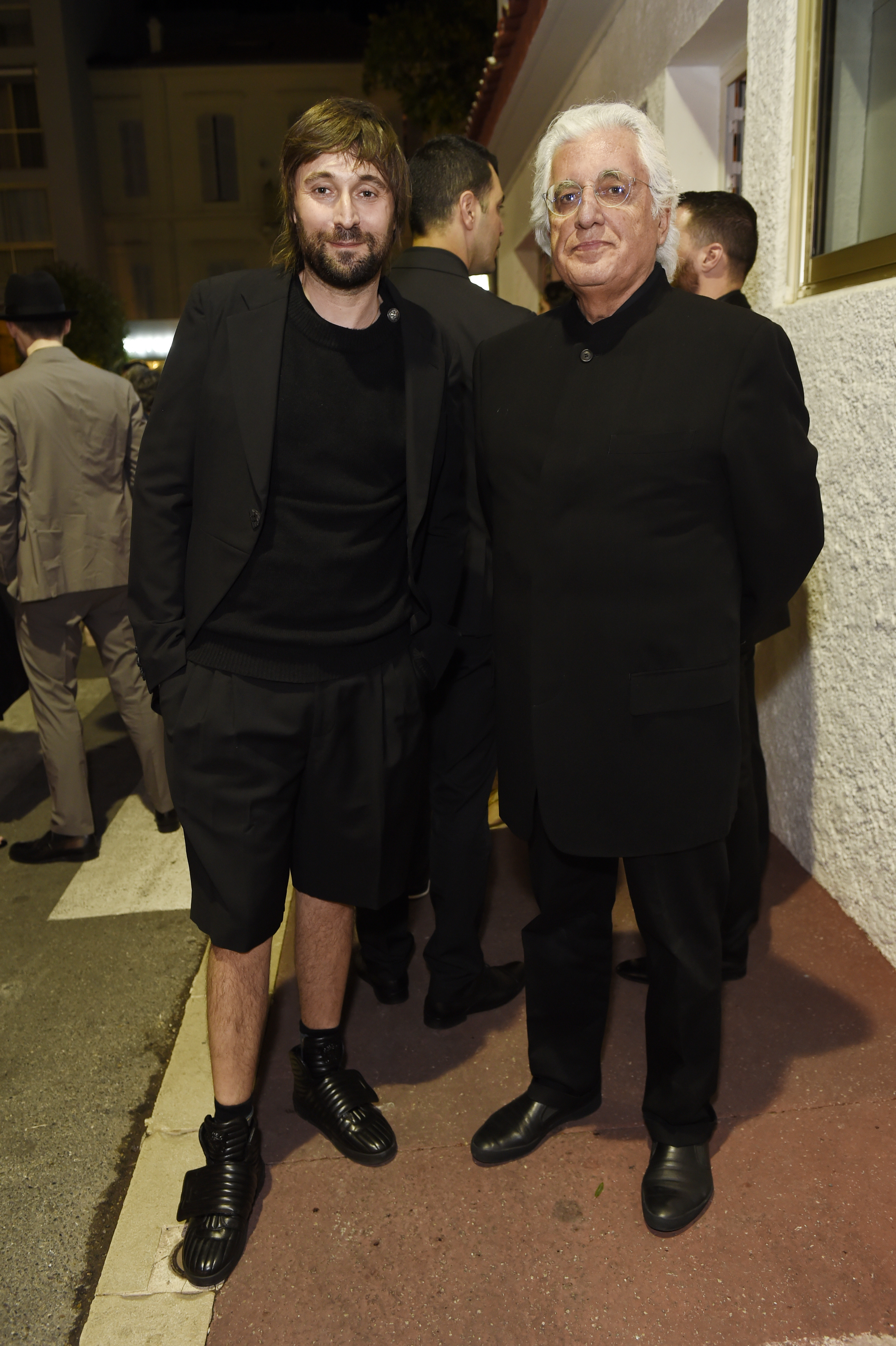 CANNES, FRANCE - MAY 22:  Francesco Vezzoli and Germano Celant attend Prada Private Dinner during the 70th annual Cannes Film Festival at Restaurant Fred L'Ecailler on May 22, 2017 in Cannes, France.  (Photo by Antony Jones/Getty Images for Prada)