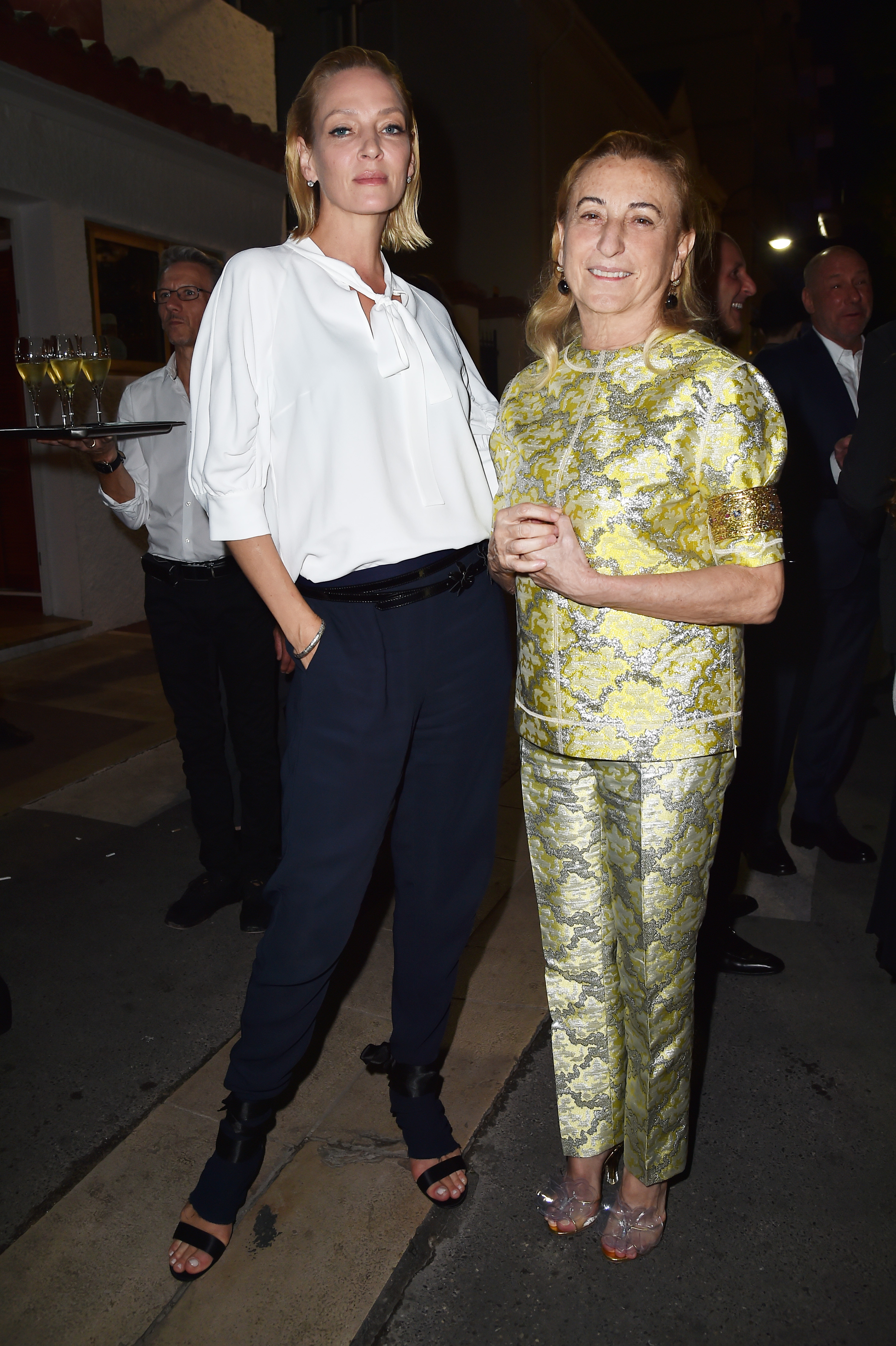 CANNES, FRANCE - MAY 22:  Uma Thurman and Miuccia Prada attend Prada Private Dinner during the 70th annual Cannes Film Festival at Restaurant Fred L'Ecailler on May 22, 2017 in Cannes, France.  (Photo by Jacopo Raule/Getty Images for Prada)