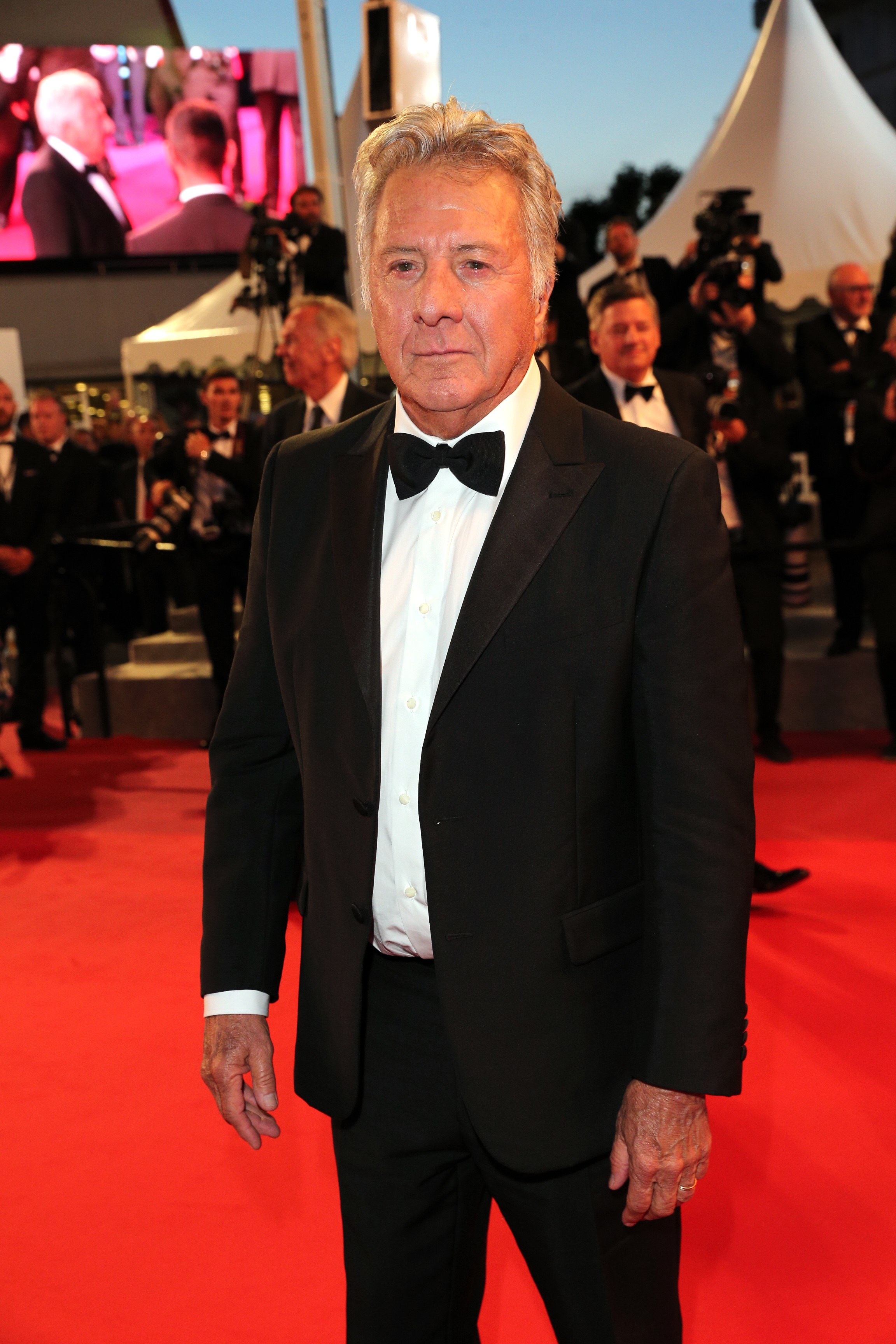 """CANNES, FRANCE - MAY 21:  Dustin Hoffman departs the """"The Meyerowitz Stories"""" screening during the 70th annual Cannes Film Festival at Palais des Festivals on May 21, 2017 in Cannes, France.  (Photo by Gisela Schober/Getty Images)"""