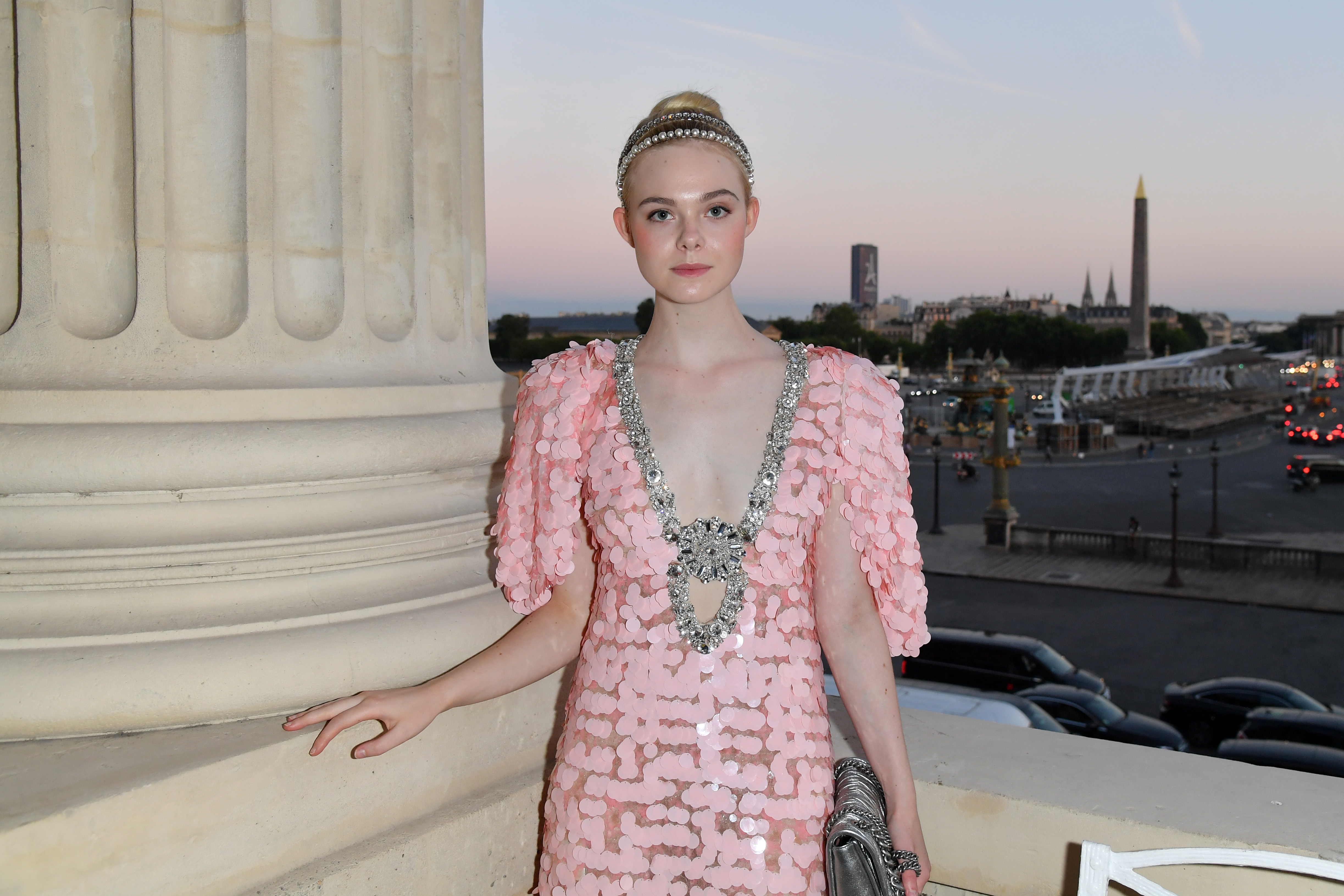 PARIS, FRANCE - JULY 02:  Elle Fanning attends Miu Miu Cruise Collection show as part of Haute Couture Paris Fashion Week on July 2, 2017 in Paris, France.  (Photo by Dominique Charriau/Getty Images for Miu Miu) *** Local Caption *** Elle Fanning