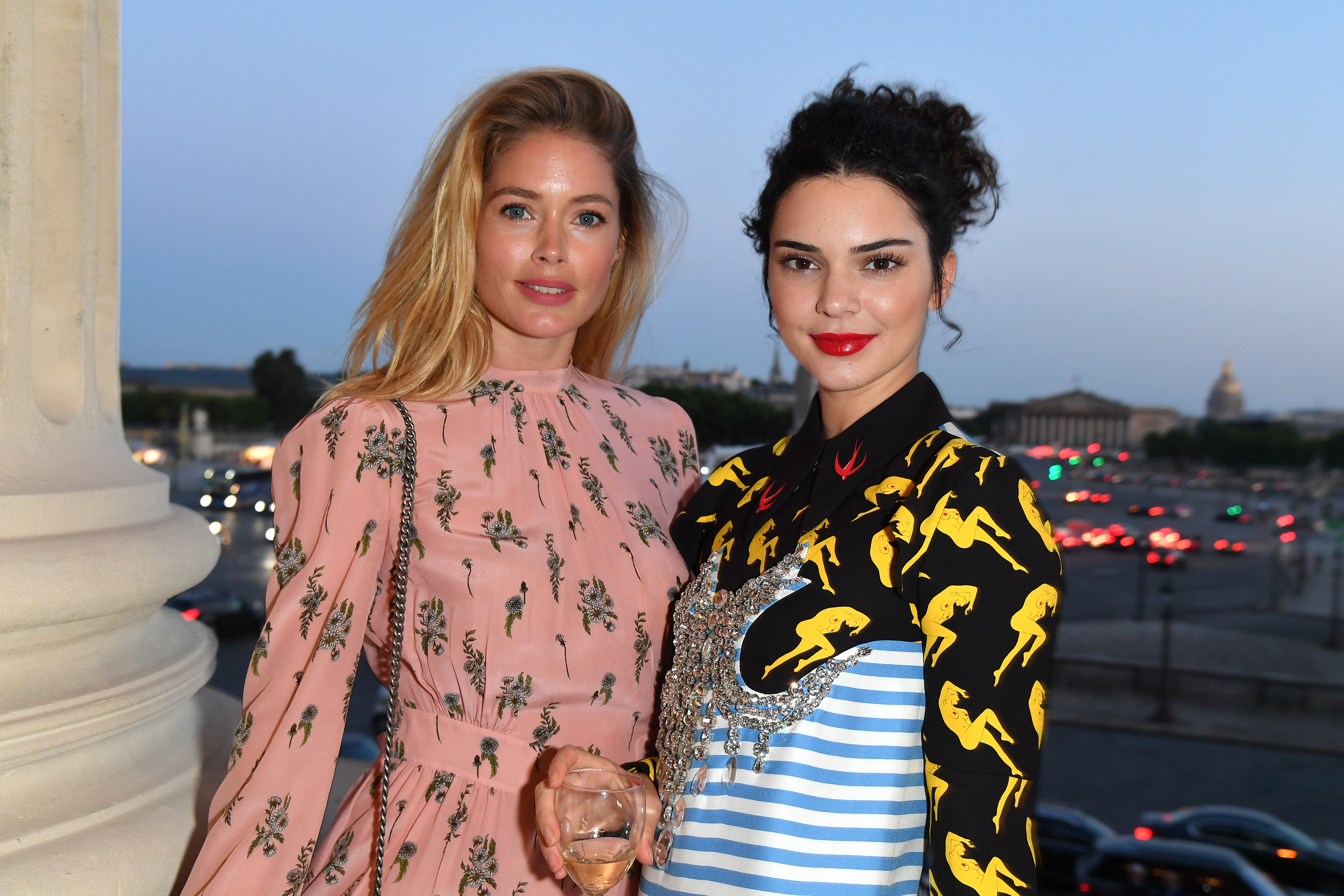 PARIS, FRANCE - JULY 02: Doutzen Kroes and Kendall Jenner attend Miu Miu Cruise Collection cocktail & party as part of Haute Couture Paris Fashion Week on July 2, 2017 in Paris, France.  (Photo by Dominique Charriau/WireImage) *** Local Caption *** Doutzen Kroes;Kendall Jenner