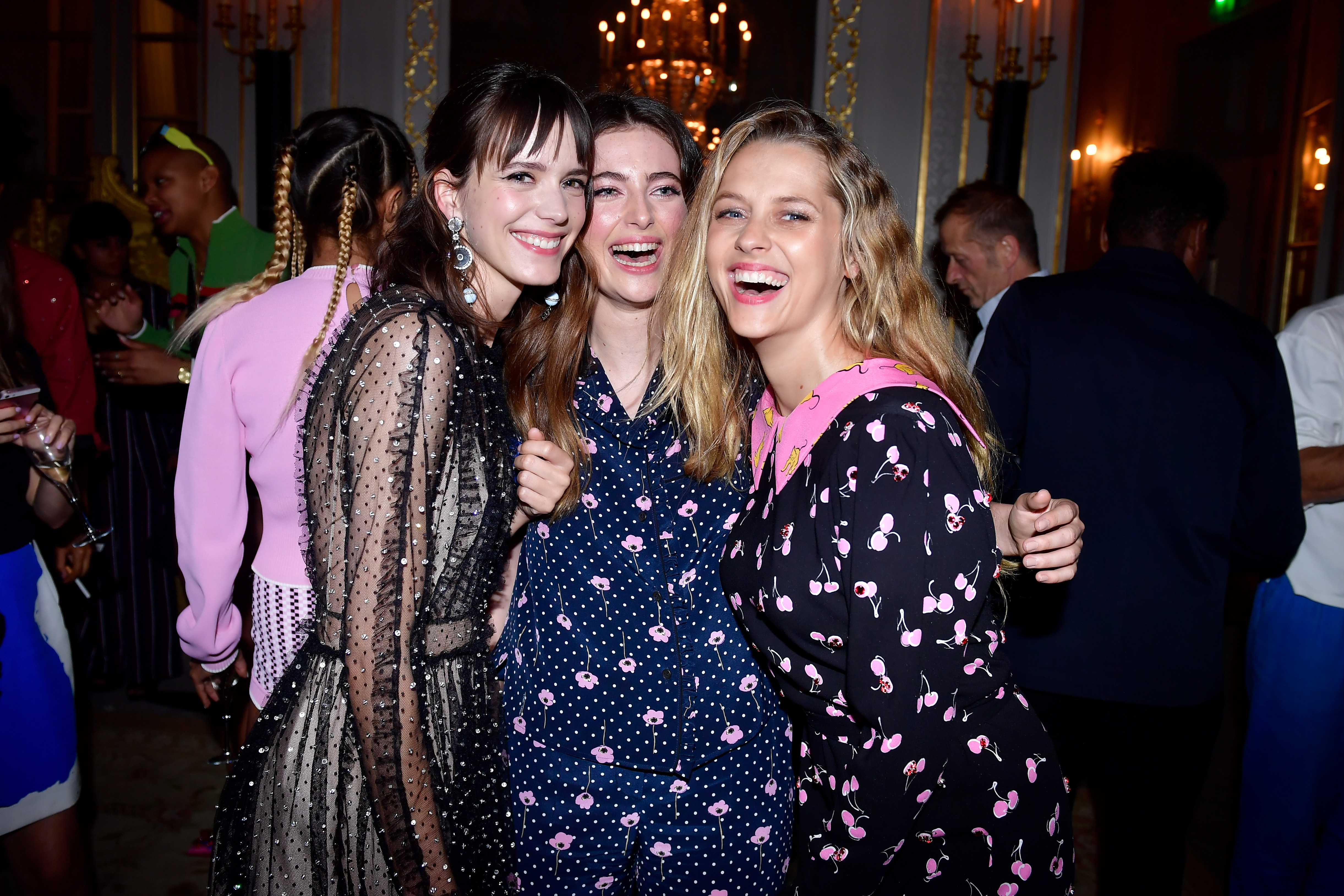 PARIS, FRANCE - JULY 02:  (L-R) Stacy Martin, Millie Brady and Teresa Palmer attend Miu Miu Cruise Collection cocktail & party as part of Haute Couture Paris Fashion Week on July 2, 2017 in Paris, France.  (Photo by Victor Boyko/Getty Images for Miu Miu) *** Local Caption *** Stacy Martin, Millie Brady;Teresa Palmer