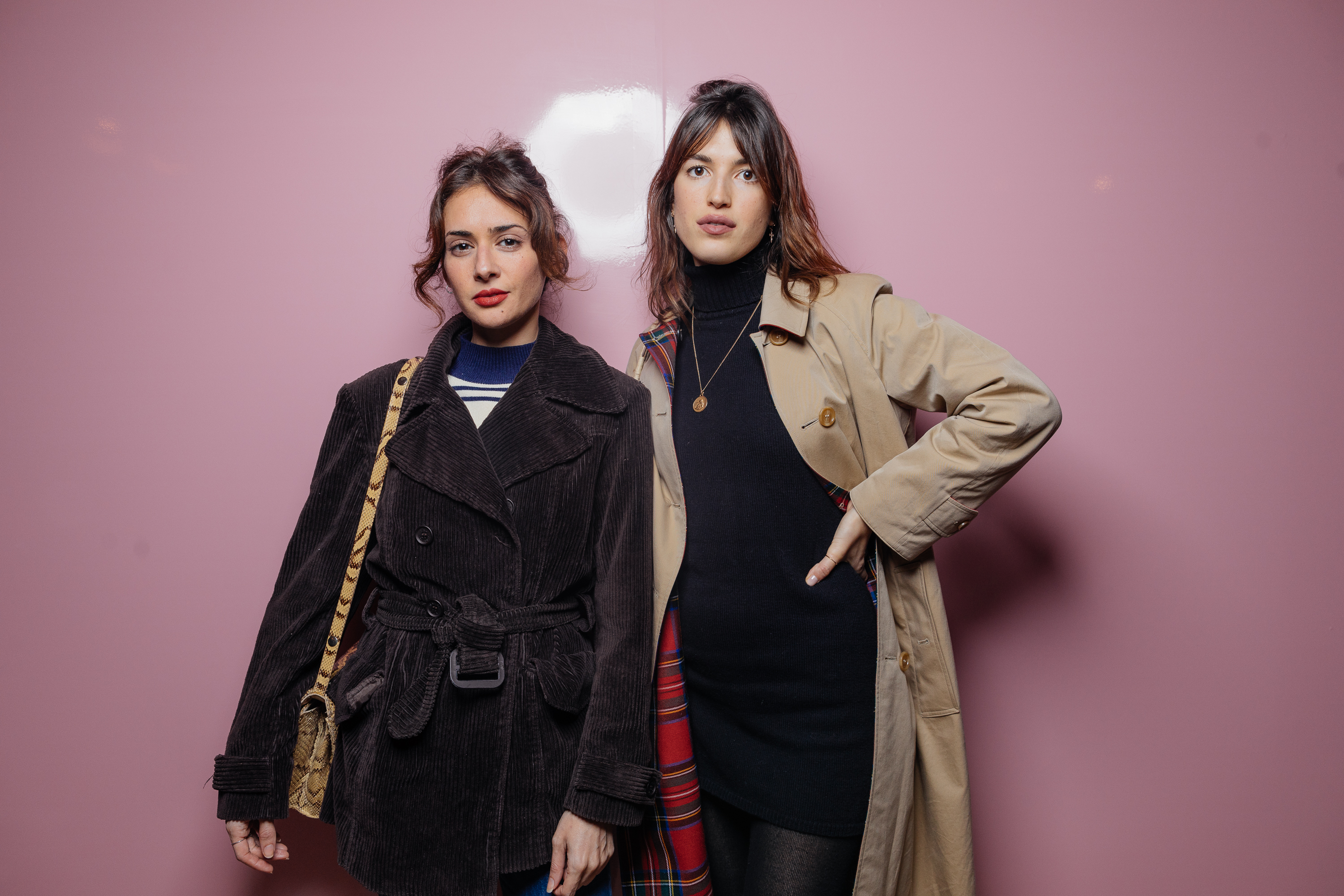 Lamia Lagha and Jeanne Damas at a private view of 'Here We Are' in Paris