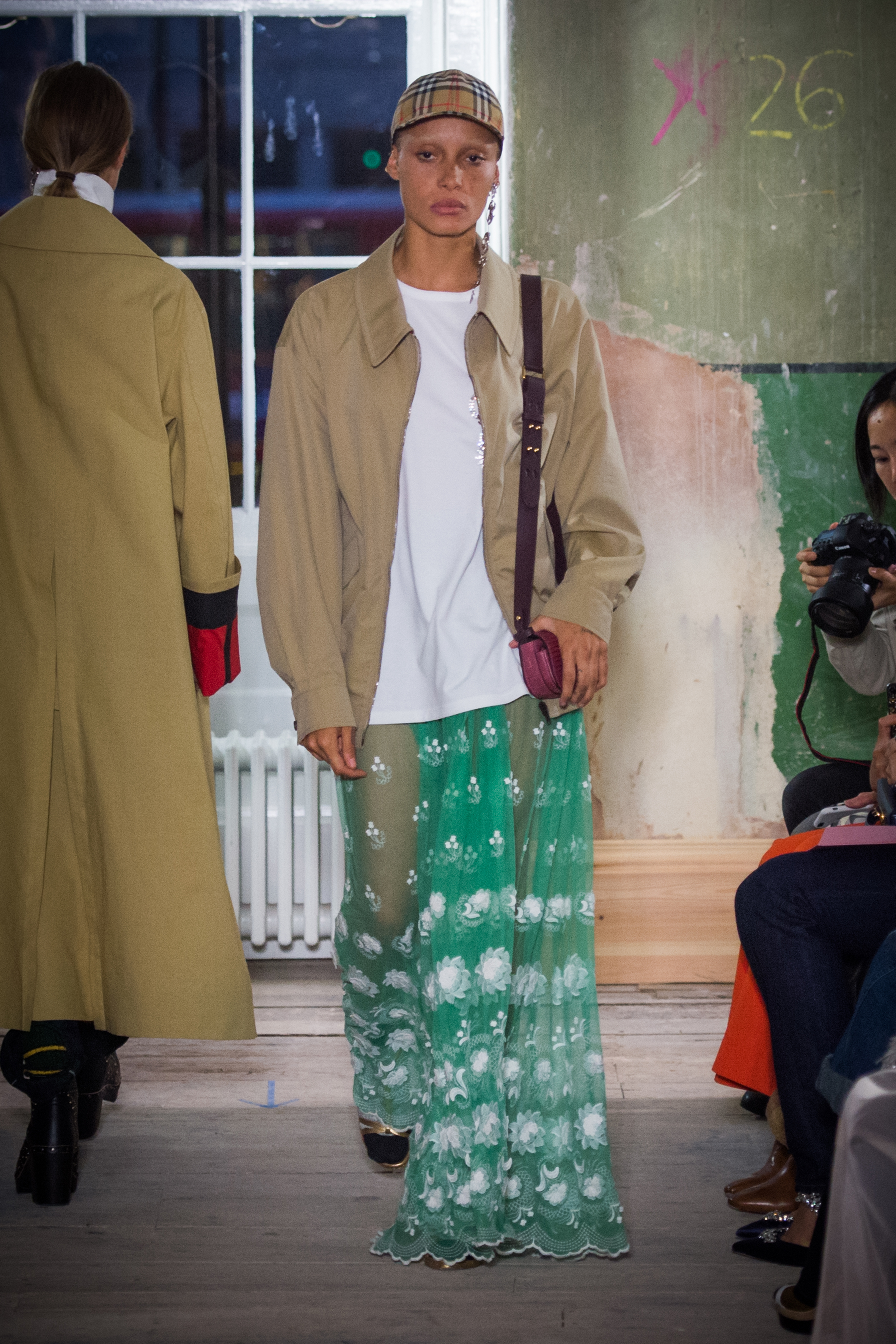 Adwoa Aboah walking in the Burberry September 2017 show
