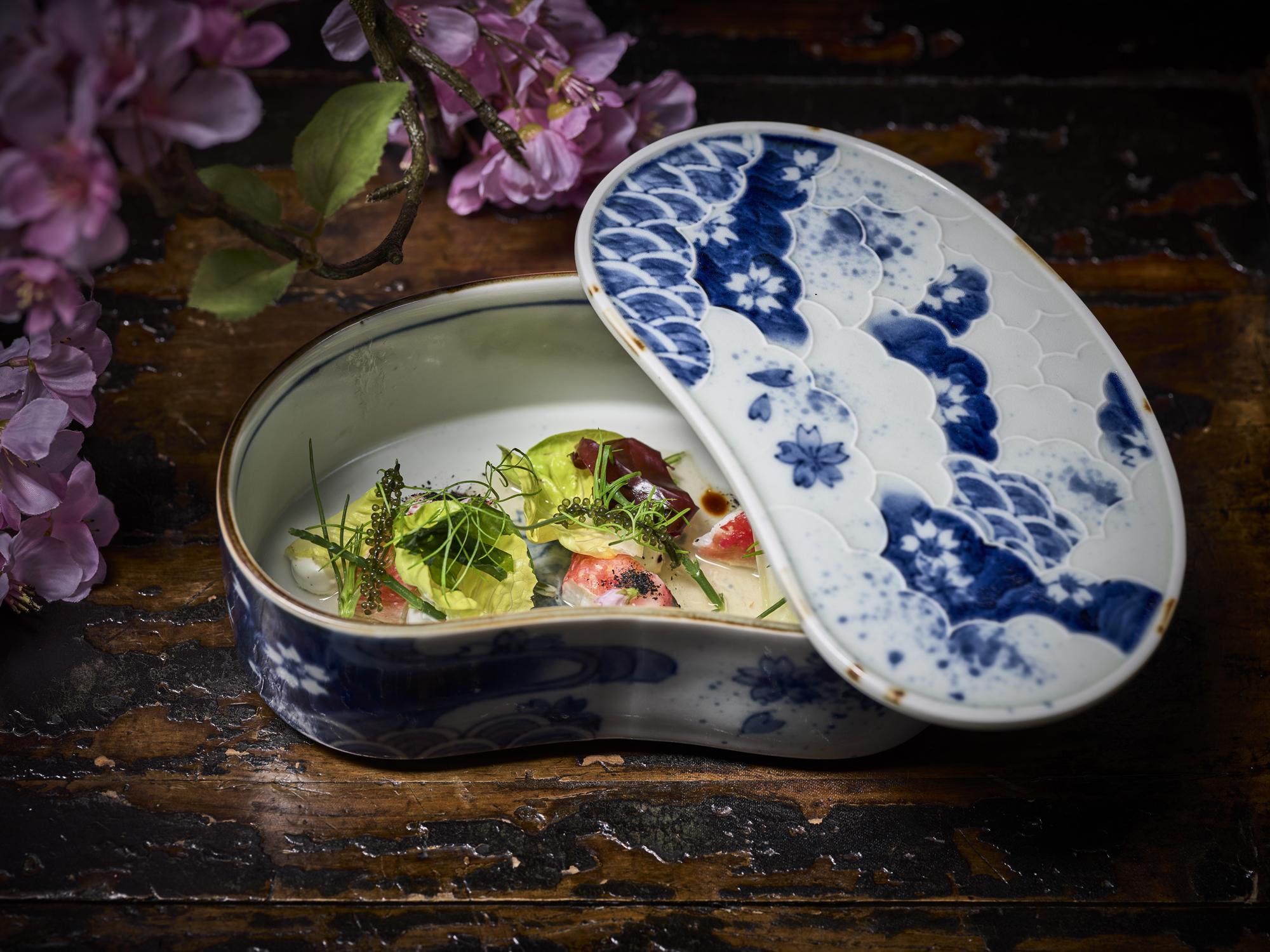 King crab with sake, elderflower and spring salad