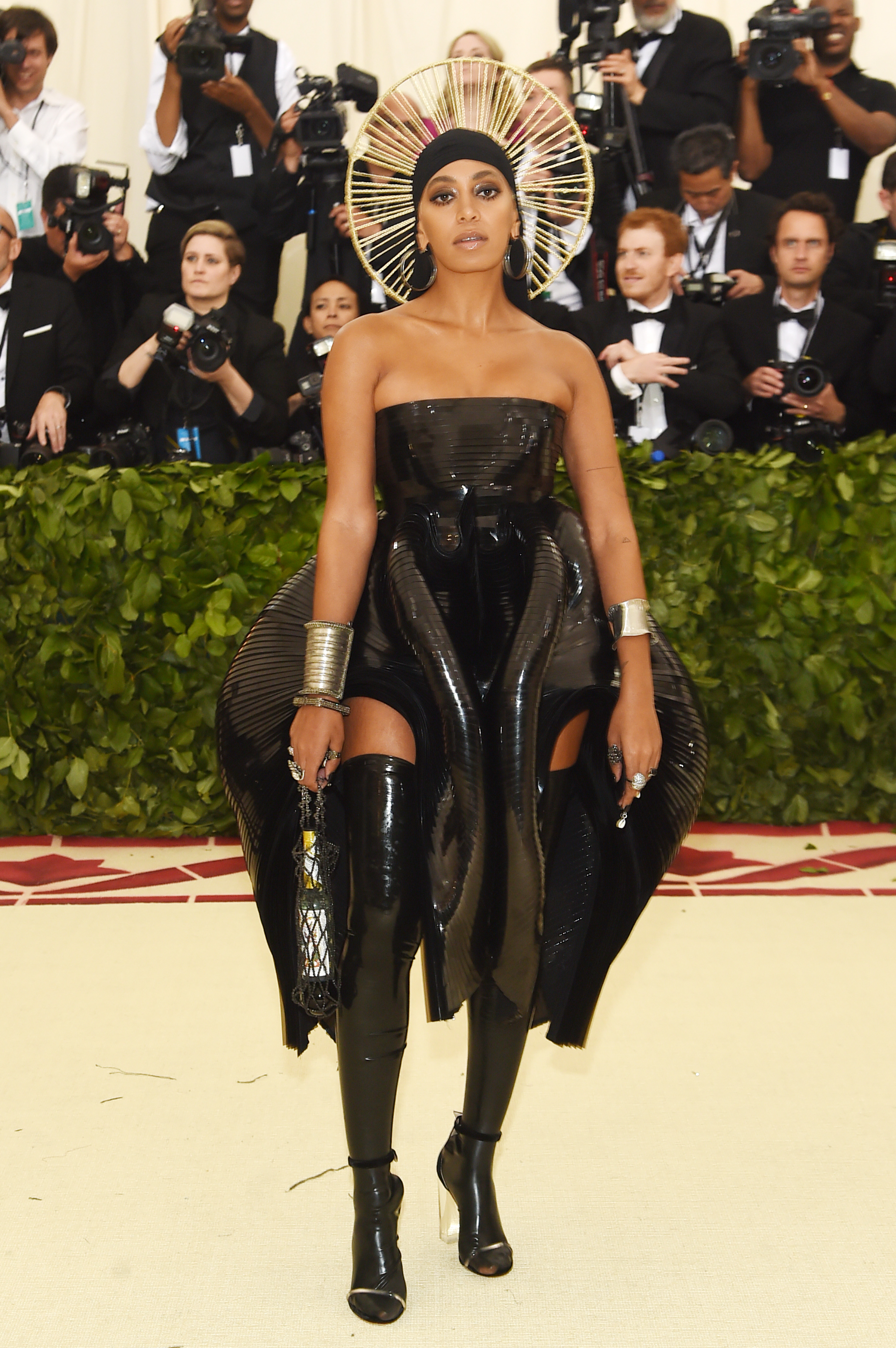 NEW YORK, NY - MAY 07: Solange Knowles attends the Heavenly Bodies: Fashion & The Catholic Imagination Costume Institute Gala at The Metropolitan Museum of Art on May 7, 2018 in New York City. (Photo by Jamie McCarthy/Getty Images)